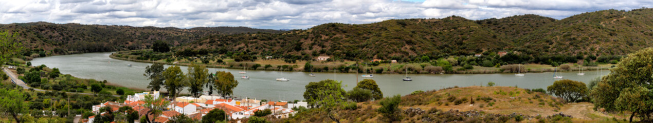 The Guadiana marking the border between Portugal and Spain near the village Laranjeiras, Algarve, Portugal.