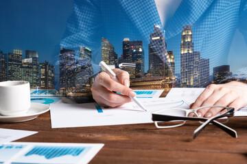 Corporate consultant analyze financial diagram