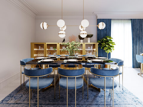 Fashionable designer dining table, black countertop, blue chairs, yellow furniture, dining area with kitchen multi-colored meel.