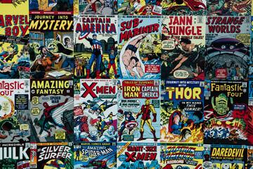 Tapisserie avec les bandes dessinées de super héros marvel - Captain America Iron Man Thor X men