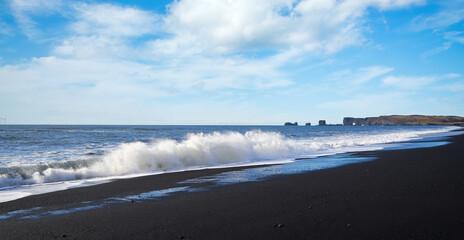 Black sand beach Vik Reynisfjara Reynisdrangar Iceland Atlantic ocean