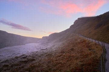 Path to Gullfoss waterfall Iceland landscape travel outdoor beautiful sunset