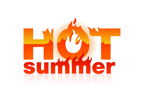 Hot summer sign button - burning words (letters) - heat sensation - element for summer promo sales or climate change global heat problems - isolated vector logo