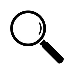 Black magnifying glass icon isolated on white background. Search icon in flat style. Magnifying glass icon for search and zoom symbol, sign, ui and magnifier logo. Modern magnifying glass vector