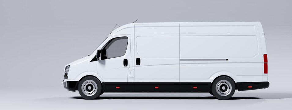 Commercial van truck on white background. Transport and shipping