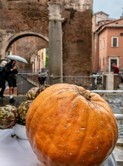 Pumpkin on white cover table over Rome ruins.