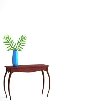 Illustration of a table and a vase with branches