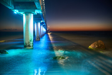Long exposure pier on the Baltic Sea at night. Zelenogradsk city, Kaliningrad region. High quality photo