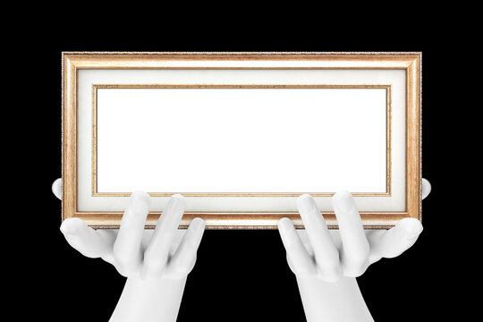 Abstract Mannequin Hands Holding Classic Wooden Photo Frame with Free Space for Your Design. 3d Rendering