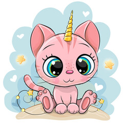 artoon pink Kitten with the horn of a unicorn