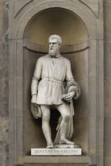 Statue of artist Benvenuto Cellini, outdoor the Uffizi museums, Florence, Italy, famous touristic place
