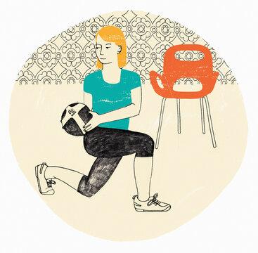 Woman exercising using medicine ball
