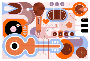Photo sur Aluminium Art abstrait Flat style design of different musical instruments, vector illustration. Art composition of guitar, saxophone, piano keyboard, trumpet, microphone and gramophone.