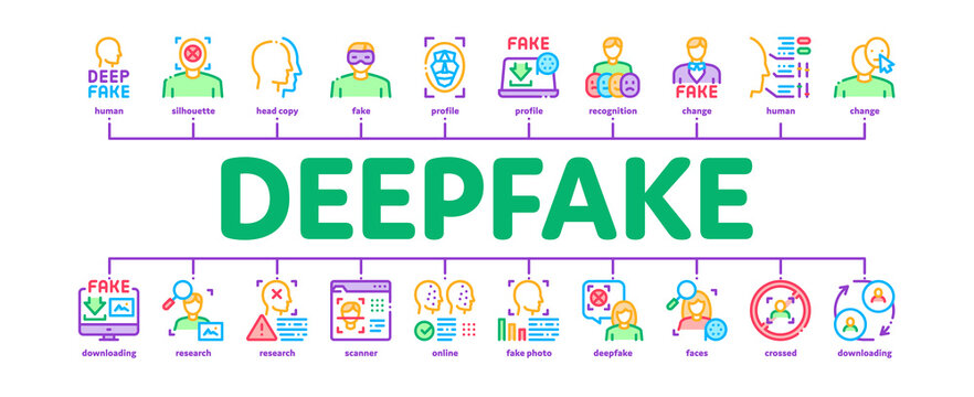 Deepfake Face Fake Minimal Infographic Web Banner Vector. Human Face Research And Change, Computer Video Analysis And Downloading Image Illustration