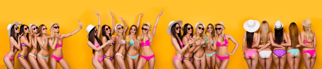 Poster Ezel Panoramic photo composite image of hot slim sporty with perfect best bodies ladies having fun time together celebration summer time coming isolated over bright color yellow background