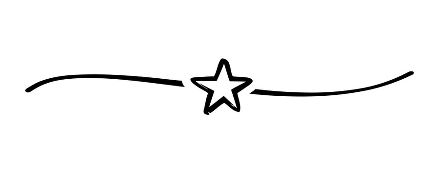 Hand drawn star with cute sketch line, divider shape. Flat starlet doodle isolated on white background for celebration ceremony or fourth of July Independence day USA. Vector illustration