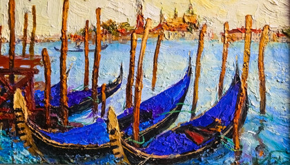 Venetian gondolas on the background of a medieval palaces. A rich palette of colors. Oil on canvas.