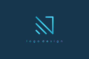 Abstract Initial Letter N Logo. Blue Light Square Geometric Line Style isolated on Blue Background. Usable for Business and Branding Logos. Flat Vector Logo Design Template Element.