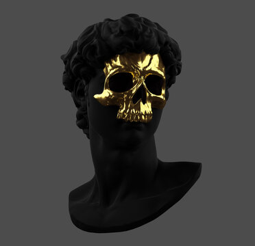 Concept illustration 3D rendering of Michelangelo's David classical black head sculpture with golden skull mask.