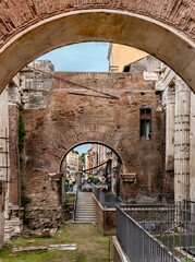 Jewish Ghetto through  arch of Rome ruins.