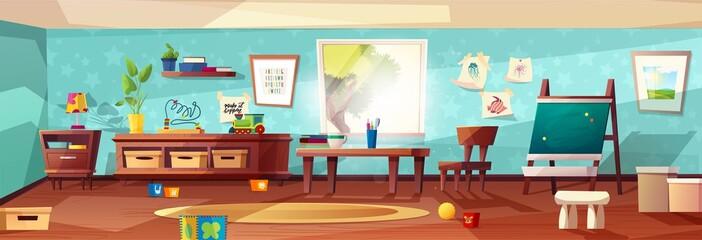 Kindergarten room modern vector illustration with furniture, sunlight from window and toys for kids. Nursery for kids, little children. Flat style design. Preschool.