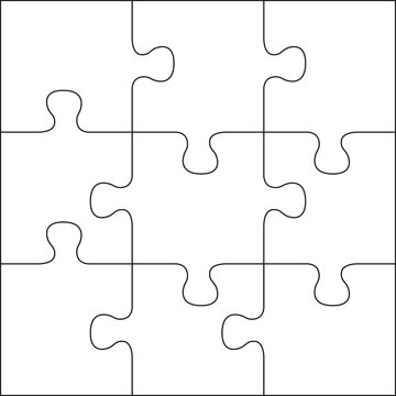 Puzzles grid template. Jigsaw puzzle 9 pieces, thinking game and 3x3 jigsaws detail frame design. Business assemble metaphor or puzzles game challenge vector illustration