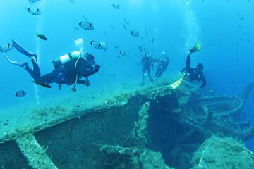 Printed roller blinds Shipwreck Scuba Divers Exploring underwater ship wreck