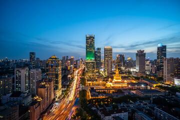 Fototapeta panoramic city skyline in shanghai china