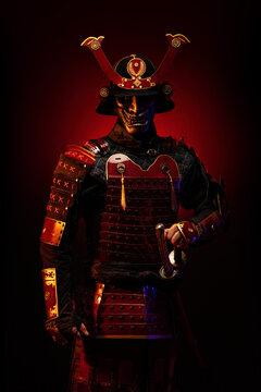 Portrait of a samurai in red armor