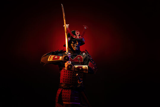 Portrait of a samurai in red armor on guard