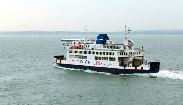 Portsmouth, Solent, UK - May 21, 2016: Wightlink ferry St Cecilia sailing from Portsmouth on the Solent for the Isle of Wight