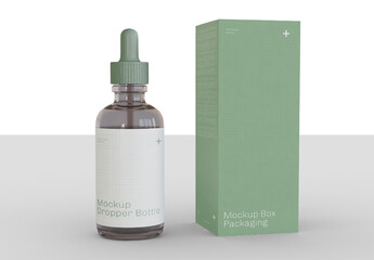 Dropper Bottle with Box Mockup