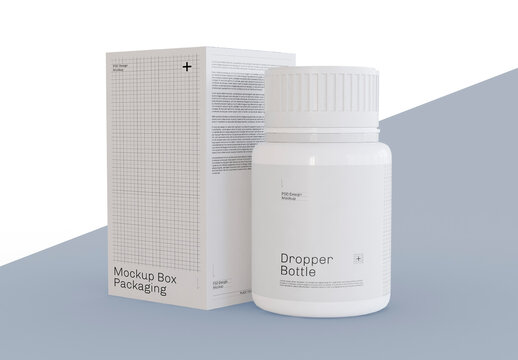 Pill Bottle and Box Packaging Mockup