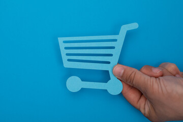 Online shopping business concept selecting shopping cart.