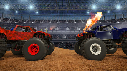 Monster truck on stadium.