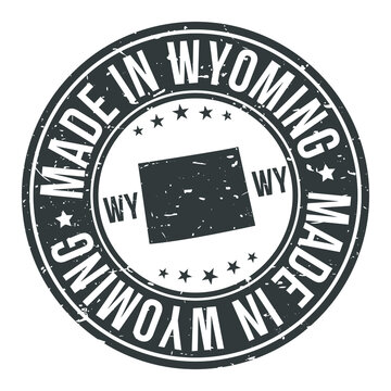 Made in Wyoming State USA Quality Original Stamp Design Vector Art.