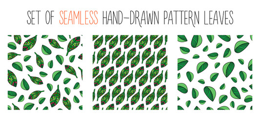 Set of hand-drawn seamless pattern leaves. Doodle exotic leaves seamless set.