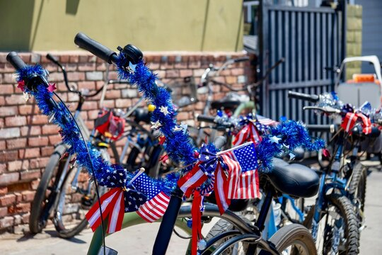 bicycles with 4th of July decorations