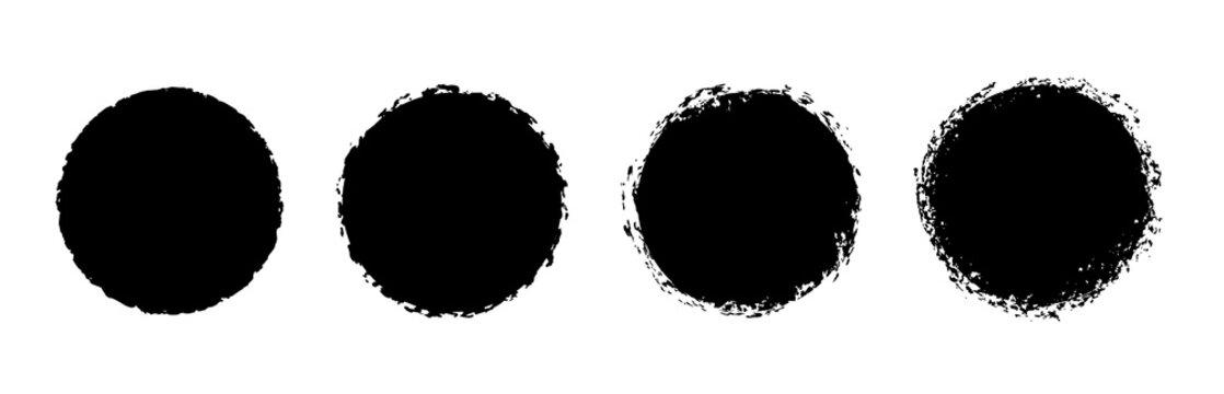 Grunge circle stamp, round badge, vector distress textures