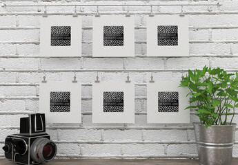 6 Photo Art Square Frames Mockup with Camera and Flower
