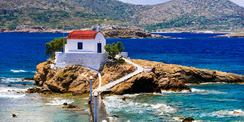 Greece travel. Leros island in Dodecanese - Agios Isidoros church .The little chapel in the sea.