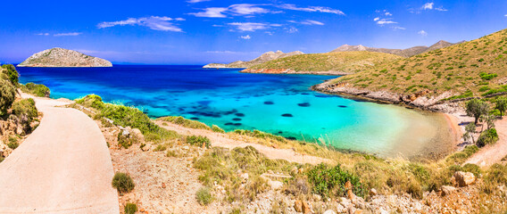 Greece summer holidays. best beaches of Leros island - tranquil picturesque Agia Kioura. Dodecanese