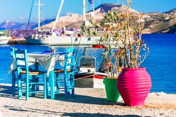 Charming traditional seaside taverns (restaurants) of Greece - Pantelli beach, Leros. Dodecanese