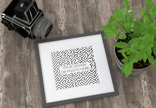 Photo Art Square Frame Mockup with Camera and Flower
