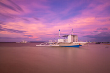 Colorful sunset at a beach on Panglao Island, Philippines