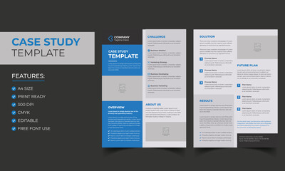 Case Study Template. Corporate Modern Business Double Side Flyer and Poster Template. Colorful booklet design.