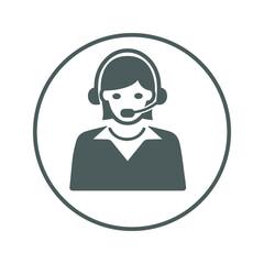 Customer Service Icon, call center / gray color