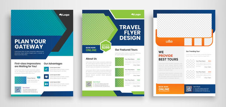 Travel Flyer poster pamphlet brochure cover design layout background, three colors scheme, vector template in A4 size - Vector