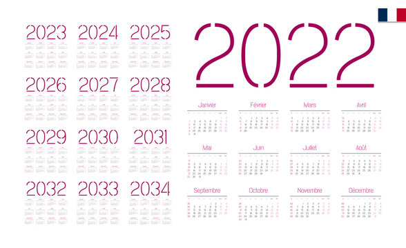 French Calendar for 2022-2034. Week starts on Monday