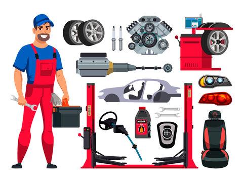 Man auto mechanic and car repair spare part set
